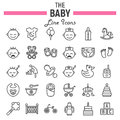 Baby line icon set, kid symbols collection Royalty Free Stock Photo