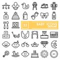 Baby line icon set, toy symbols collection, vector sketches, logo illustrations, children signs linear pictograms