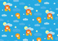 Baby lion seamless pattern vector background with a cartoon illustration of a cub and his mother Stock Images