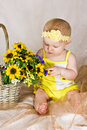 Baby looking at flowers Stock Images