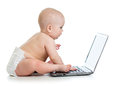 Baby looking at laptop Royalty Free Stock Photo