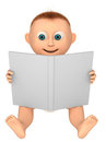 Baby looking at a white book Stock Images