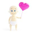 Baby love balloon heart d illustrations on a white background Royalty Free Stock Image