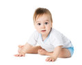 Baby lying on his stomach cute Royalty Free Stock Photos