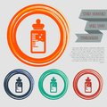 Baby milk bottle icon on the red, blue, green, orange buttons for your website and design with space text.