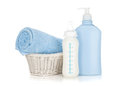 Baby milk bottle, shampoo and towel Royalty Free Stock Image