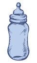 Baby milk bottle. Vector sketch