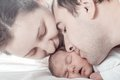 Baby with mom and dad sleeping closeup faces Royalty Free Stock Image