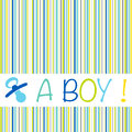 Baby newborn birth announcement card boy with striped pattern an Royalty Free Stock Photo