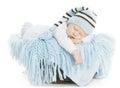 Baby Newborn Portrait, Boy Kid New Born Sleeping In Blue Hat Royalty Free Stock Photo