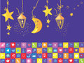 Baby night banner with star moon funny objects Stock Photography