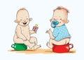 Baby nipple potty humor cartoon vest rosy tooth nursery Royalty Free Stock Photography