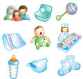Baby and Nursery icons Stock Photos