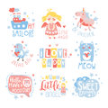 Baby Nursery Room Print Design Templates Set In Cute Girly Manner With Text Messages
