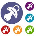 Baby pacifier icons set Royalty Free Stock Photo