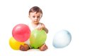 Baby party with colorful balloons isolated on white background Stock Photos