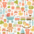 Baby pattern seamless with colorful flat icons Stock Image