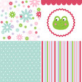 Baby pattern set cute colorful fabric Royalty Free Stock Image