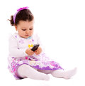 Baby with phone mobile Royalty Free Stock Photo