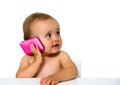Baby phone with a mobile isolated on white Stock Image