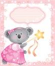 Baby pink frame with koala Royalty Free Stock Photo