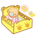 Baby playing in baby bed. Home and Family Character Design Serie Royalty Free Stock Image