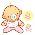 Baby playing in baby bed marriage and parenting character desig design series Stock Photography