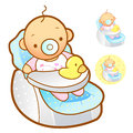 Baby playing in baby Car Seats. Home and Family Character Design Stock Photos