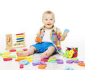 Baby Playing Education Toys, Kid Play Alphabet Letters Numbers L Royalty Free Stock Photo