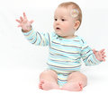 Baby playing with soap bubbles on white Stock Photography
