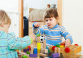 Baby  playing with toy blocks Royalty Free Stock Photo