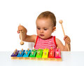 Baby playing xylophone Royalty Free Stock Photo
