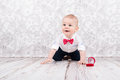 Baby pose with betrothal ring Royalty Free Stock Photo