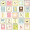 Baby postage colored cute set Royalty Free Stock Photo