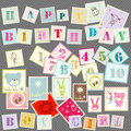 Baby postage cute set of letters numbers and various elements Stock Photos