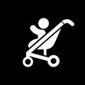 Baby pram icon simple flat style vector illustration Royalty Free Stock Photo