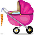 Baby pram illustration of isolated on white background Royalty Free Stock Images