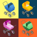 Baby pram, pushchair, stroller, perambulator. Vector 3d flat isometric illustration. Royalty Free Stock Photo