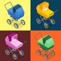 Baby pram, pushchair, stroller, perambulator. Vector 3d flat isometric illustration. Royalty Free Stock Photo