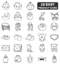 Baby product icons there are cute related to small babies Stock Photography