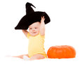 Baby with a pumpkin Stock Image