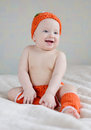Baby pumpkin funny wearing costume of Royalty Free Stock Image