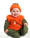 Baby in Pumpkin Outfit Royalty Free Stock Photos