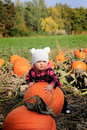 Pumpkin patch baby Royalty Free Stock Photo