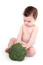 Baby pushing away broccoli Stock Photography