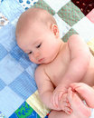 Baby on Quilt - Contentment Royalty Free Stock Photo