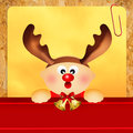 Baby with reindeer horns at christmas Royalty Free Stock Images