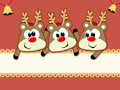 Baby reindeers christmas card cute for with copy space Royalty Free Stock Images