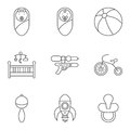 Baby related flat vector icon set Royalty Free Stock Photo