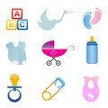 Baby related icon set Royalty Free Stock Images